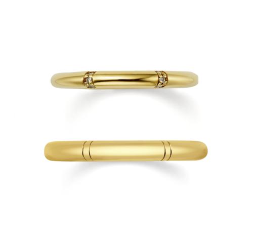 ORECCHIOオレッキオの結婚指輪でピピコレクションのLF848/849のイエローゴールド