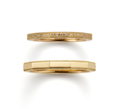 ORECCHIOオレッキオの結婚指輪でサファリコレクションのLF1690/1691のゴールド