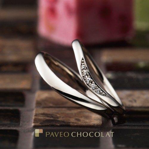 パヴェオショコラの結婚指輪でフルラージュ