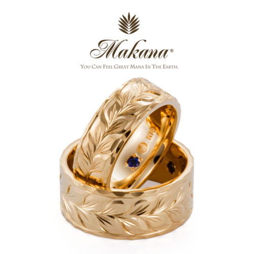 ハワイアンジュエリーMakanaマカナの結婚指輪でフラットタイプのYG