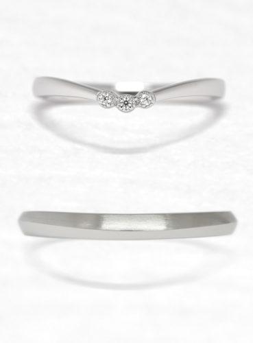 ひなの結婚指輪でみずもようの上面