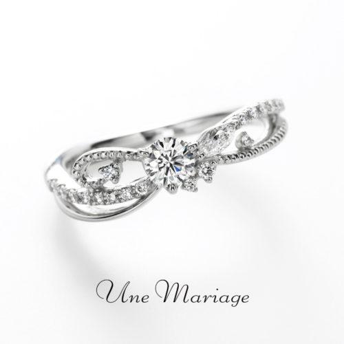アンティークなデザインが可愛いUneMariageアンマリアージュの婚約指輪ルモンドュデュレーヴ