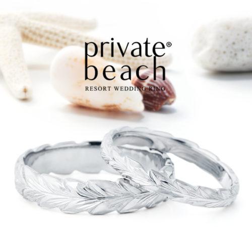 プライベートビーチの結婚指輪でLAUプラチナ