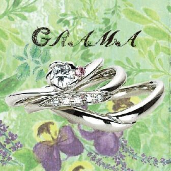 グラマの結婚指輪と婚約指輪でローズとユーカリ